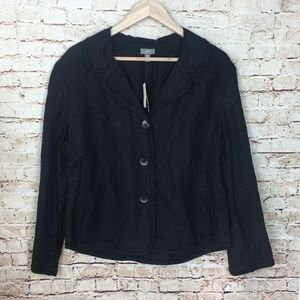 J Jill Black Linen Button Down long sleeve shirt